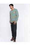 Stripe Tees Orange Long Sleeve